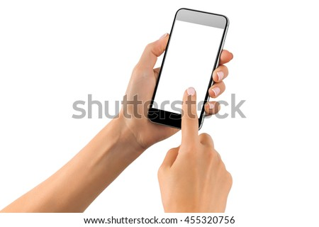 Female hand scrolling black cellphone with white screen at isolated background. #455320756