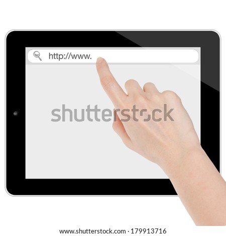Female hand searching the internet on a tablet computer similar to ipad isolated on white