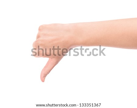 Female hand showing a thumb down gesture. Isolated on white background.