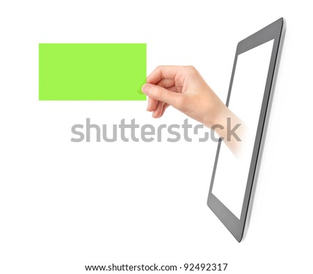 Female hand showing green translucent business card from blank digital tablet pc. Isolated on white.