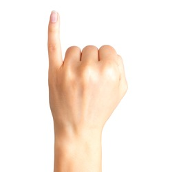 Female hand showing pinky little finger, gesture of making a promise. Isolated with clipping path.