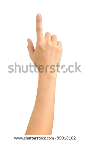 female hand touching screen - stock photo