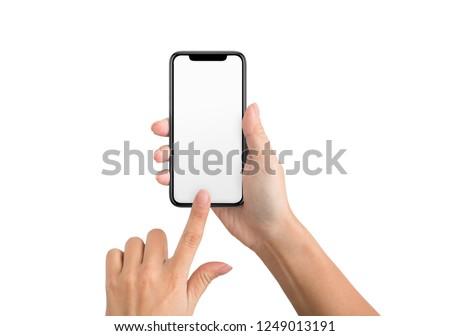 Female hand using blank touchscreen of frameless smartphone, isolated on white background, mockup #1249013191