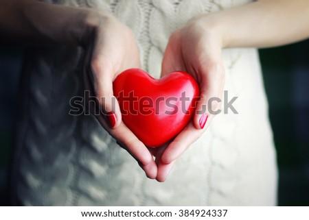 female hand valentine heart  #384924337