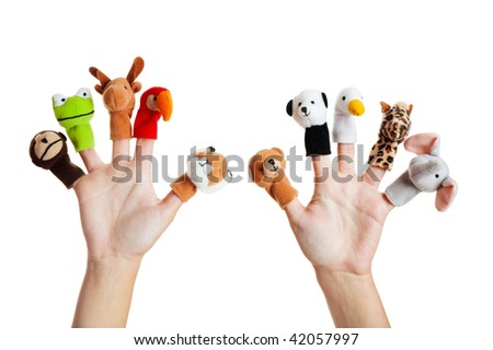 Female hand wearing 10 finger puppets; monkey, frog, reindeer, parrot; lion; bear; panda; duck; giraffe; elephant