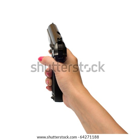 Female hand with a pistol it is isolated on a white background.