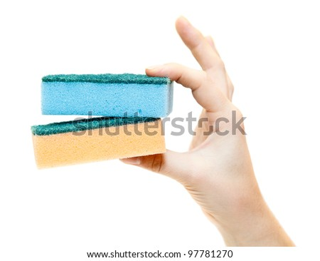 Female hand with clean sponges isolated on white background