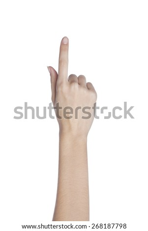 Female hand with finger held up #268187798