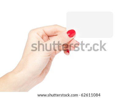 Female hand with red nails holding a blank card isolated on white