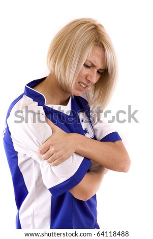 Female Handball Player Holding On Arm, Isolated In White Stock