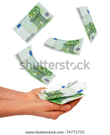 Female hands and falling euros isolated on white background