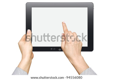 female hands are holding and point on touch screen device isolated on white background