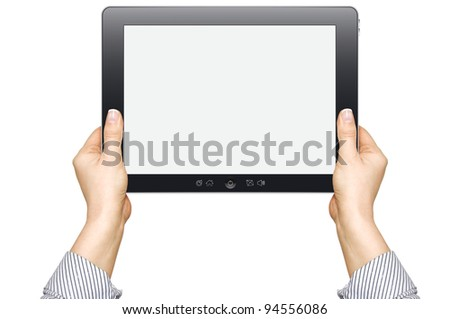 female hands are holding the touch screen device isolated on white background