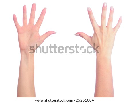 Female hands counting number 5