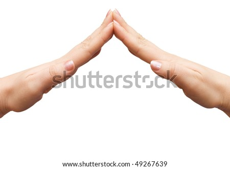 Female hands do a roof Isolated