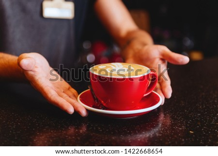 Female hands hold a aromatic beverage, drinks cappuccino or coffee cup