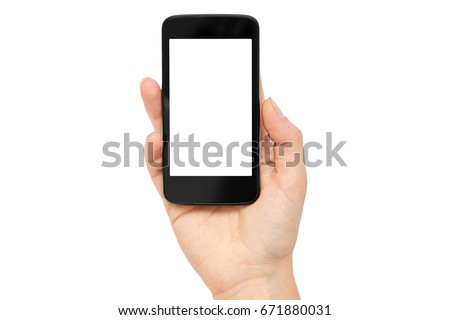 Female hands hold a cell phone, mockup template. Isolated on white background #671880031