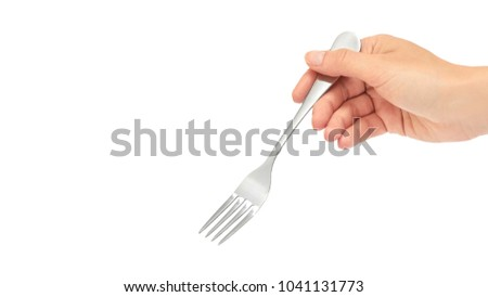 Photo of Female hands hold a fork. Isolated on white background. copy space, template.