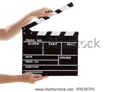 Female hands holding a clapboard, isolated on white #90628705
