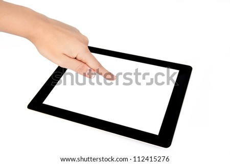 female hands holding a tablet touch computer gadget and touches the screen