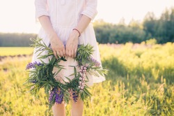 Female hands holding a wreath of wildflowers. Nature.