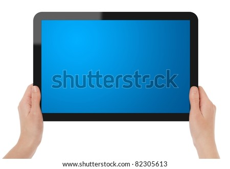 Female hands holding blank touch screen tablet. Include clipping path for tablet with hands and screen