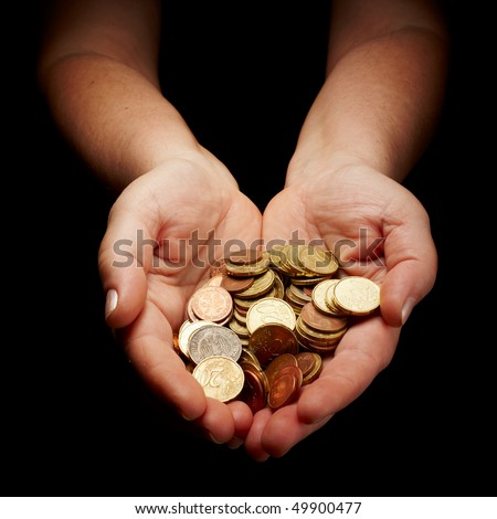 female hands holding european union coins