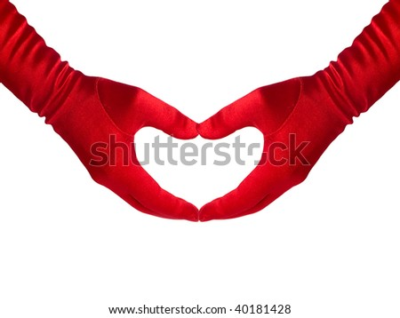 Female hands in red gloves shows a heart, isolated over white. Series.