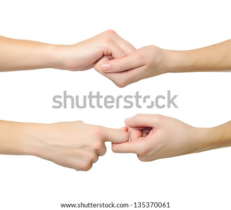 Female hands in shape of lock holding each other isolated on white background
