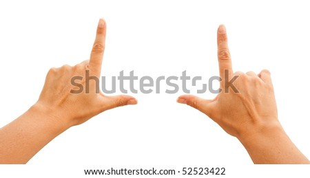 Female Hands Making Frame Isolated on a White Background with Clipping Paths for Your Own Positioning.