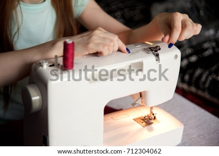 Free Photos Closeup Female Hands Sewing Fabric On Sewing Machine Classy Hands Free Sewing Machine