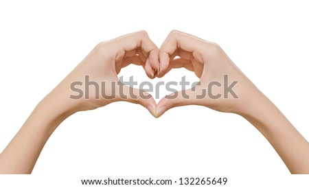 Female hands shaping a heart symbol on white background Stock Photo: - stock photo