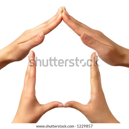 Female hands showing home sign family house concept
