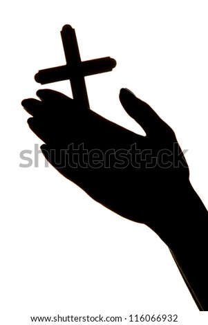 female hands with crucifix, isolated on white