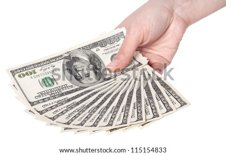 female hands with dollars isolated on a white background