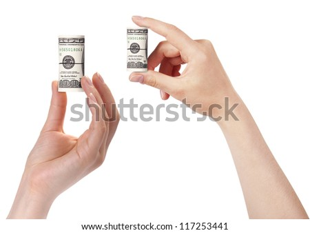 female hands with dollars set isolated on a white background