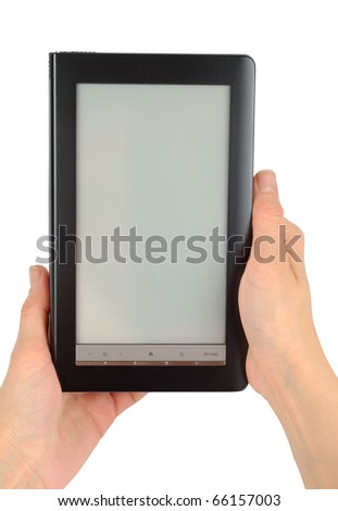 Female hands with electronic book isolated with clipping path over white