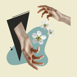 Female hands with flowers. Contemporary art collage, modern design. Aesthetic of hands. Trendy colors. Copyspace for your ad or text. Surreal conceptual poster.