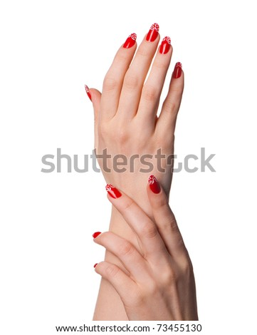 Female hands with French manicure. It is isolated on a white background