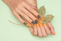 Female hands with green and yellow autumn nail design. Female hands hold dry yellow autumn leaves. Woman hands on pale green background