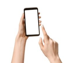 Female hands with mobile phone on white background
