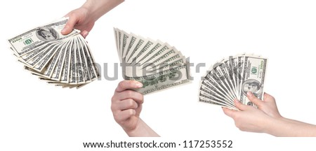 female hands with money set isolated on a white background