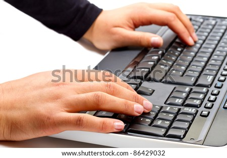 female hands writing on computer keyboard stock photo 86429032 shutterstock. Black Bedroom Furniture Sets. Home Design Ideas