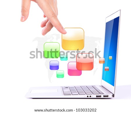 Female hands writing on laptop with colorful application icons