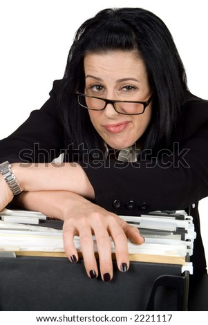 Female hanging over file crate looking exhausted - stock photo