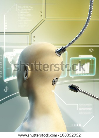 Female head with cables connecting to the back of her head. Digital illustration.