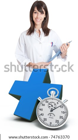 Female healthcare professional, a green cross and a chronometer