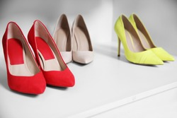 Female high heel shoes in wardrobe