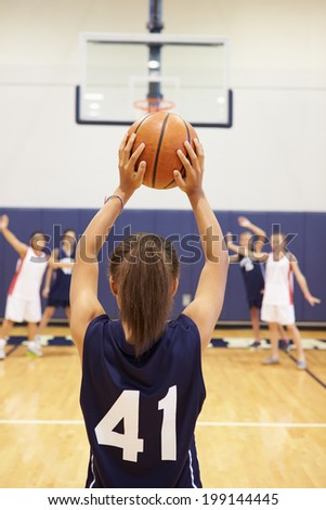 Female High School Basketball Player Shooting Basket