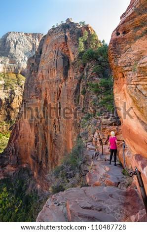 Female hiking Angel's landing Zion National Park model Bodil Joranli